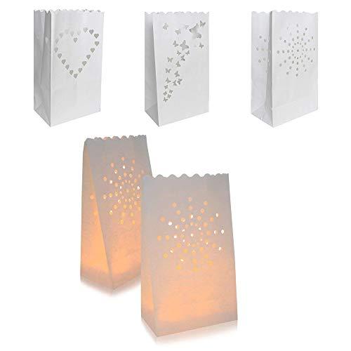 INTVN Kerzentüten Kerze Taschen Lichttüten Herz Sonne Schmetterling Design für Hochzeiten Geburtstage Weihnachten Dekorationen Weiß, 30 Stück