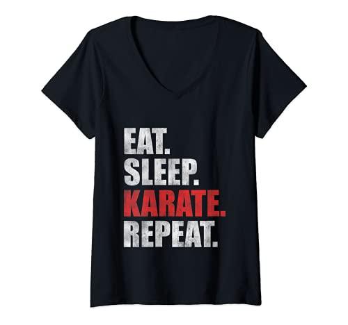 Mujer Eat Sleep Karate Repeat Camiseta Cuello V