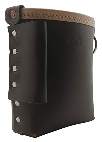 Leather Gold 3850-CHOC Bolt Bag with Spud Wrench Holder and Snap Holder | Ironworker Bolt Bag, Medium Size | Premium, Ultra Durable Buffalo Leather | Commercial Grade Sliding Tool Belt Accessory
