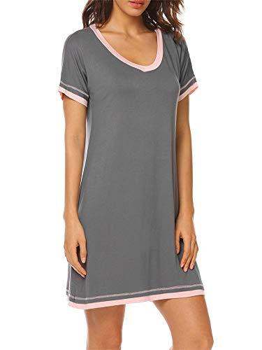 YONIER Camisón Mujer Verano Pijama Cuello Redondo Manga Corta Cómodos Vestidos Ropa de Dormir Loungewear Camisones de Algodon Casual Suave y Transpirable