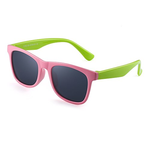 JM JM Polarisiert Kinder Sonnenbrille Gummi Jungs Mädchen Kids Flexibel Brille Alter 3-12 (Rosa Grün/Polarisiertes Grau)