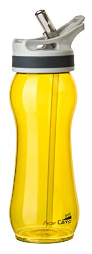 AceCamp TRITAN Trinkflasche | Wasserflasche auslaufsicher BPA-Frei | Sportflasche Trinkhalm I 550 ml I Gelb I 15542