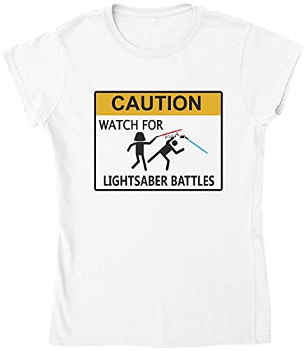 Reloj de precaución para la camiseta de las batallas de la espada del laser de las mujeres!