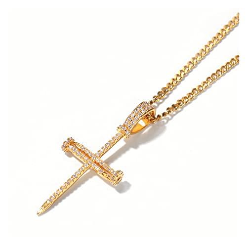 JIAH Collares con colgante de cruz para hombre, diseño de hip hop con circonita AAA, joyería unisex (longitud: 24 pulgadas, color de la piedra principal: cadena de cuerda)