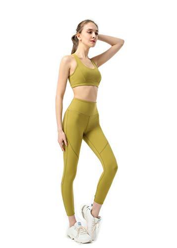 Eagool Conjuntos de Entrenamiento para Mujer Trajes de 4 Piezas Leggings de Yoga de Cintura Alta y Sujetador Deportivo Ropa de Gimnasio Grande Verde