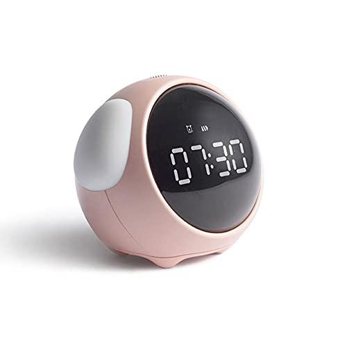 Reloj despertador Emoji Pixel, alarma electrónica multifunción, luz de la noche de la noche de los niños, luz de despertador, control inteligente, recargable USB, función de snooze, volumen ajustable