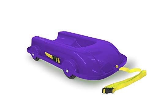 Jamara 460506 Bob 2in1 Sommer/Winter lila – 2 in 1 Design mit kugelgelagerten Rädern ermöglicht Fahrspaß im Winter & Sommer, wendbare & Bequeme Sitzschale, aus robustem Kunststoff, Kipschutz