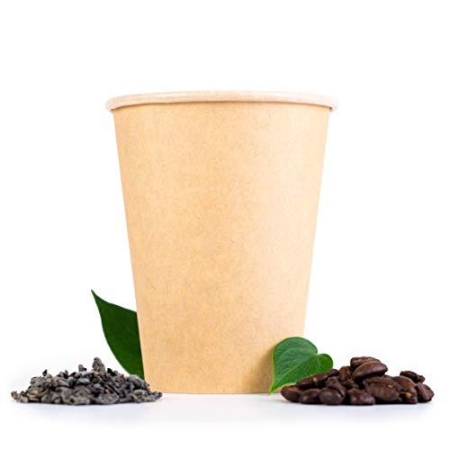 Beeleeve Kompostierbare to-Go-Kaffee und Teetassen [100 - Pack] - biologisch abbaubar - Einweg-Einwegbehälter für Büro, Party, Hochzeitsgetränke - Braunes Kraftpapier, PLA-Beschichtung (300ml/12oz)