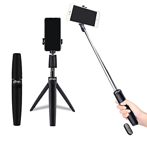 pTron Glam Plus Bluetooth Extendable Selfie Stick with Tripod Stand, Wireless Remote, 360 Degree Rotation, 73cm Extended Length, Compatible with 6-8cm Width Phones & Replaceable Battery - (Black)