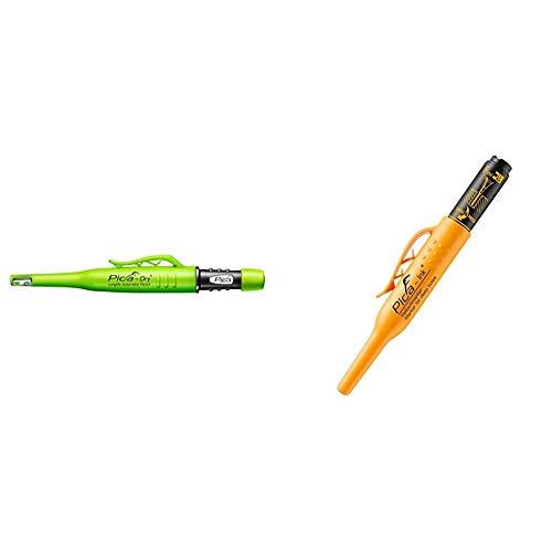 Pica Tieflochmarker Dry Longlife, langlebiger Marker mit Spitzer und Halteclip, Spezial-Graphitmine 2.8 mm,grün, Art.-Nr. 3030.0 & Pyca Tieflochmarker Pica Ink, schwarz, 150/46