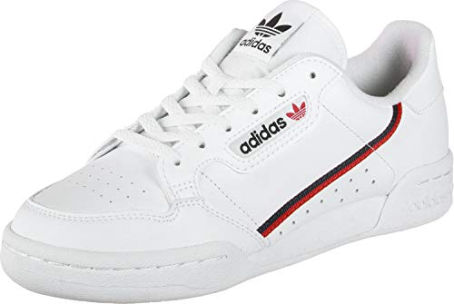 adidas Unisex Kids Continental 80 J Gymnastics Shoes, White (Ftwr White/Scarlet/Collegiate Navy), 5 UK
