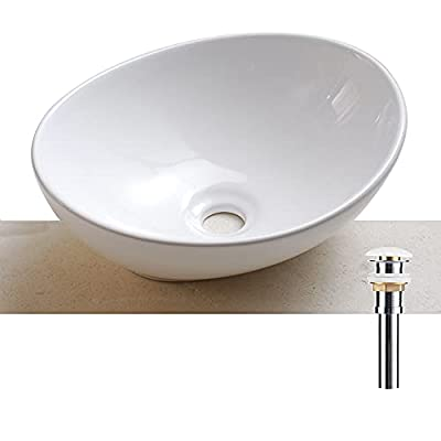 AWESON Porcelain Above Counter Vessel Sink, 16 Inch by 13 Inch, White Ceramic Bathroom Sink, Oval Canoe Shape