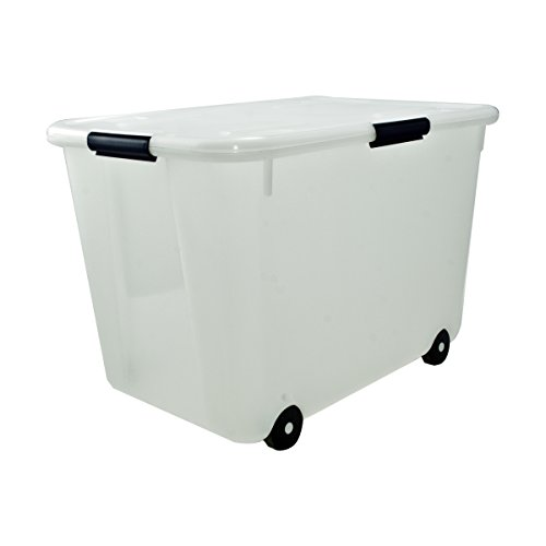 Advantus Rolling Storage Box with Snap Lid, 15-Gallon Size, Clear (34009)
