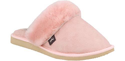 Zapatillas De Casa para Mujer De Zamarra De Piel de Cordero Natural (41 EU, Rosa 930)