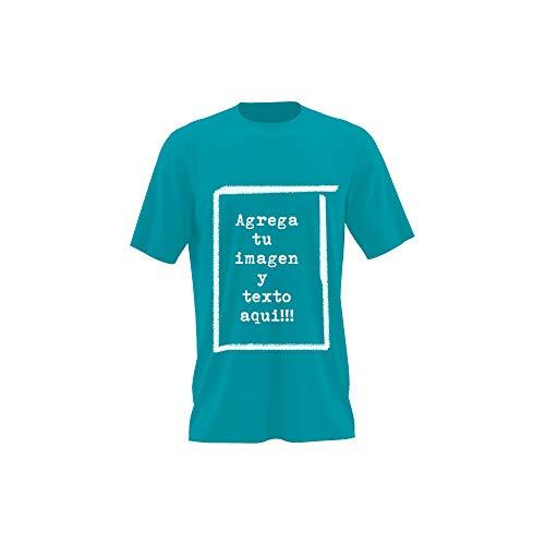 Detalles Creativos Camisetas Personalizables - T-Shirt Personalizadas .Tu Foto ó diseño en una Camiseta (Turquesa, M)