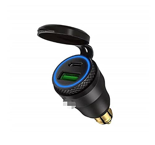 XIAOQIN BOMY Ajuste para la Motocicleta Carga RÁPIDA A Prueba de Agua C + QC 3.0 Cargador de Enchufe de alimentación USB Ajuste para el Adaptador de Enchufe de BMW DIN (Color Name : A)