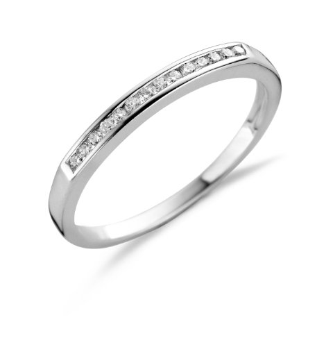 MIORE MSL005RP - Anillo de Plata de Ley con Diamante (.1), Talla 16 (17,84 mm)