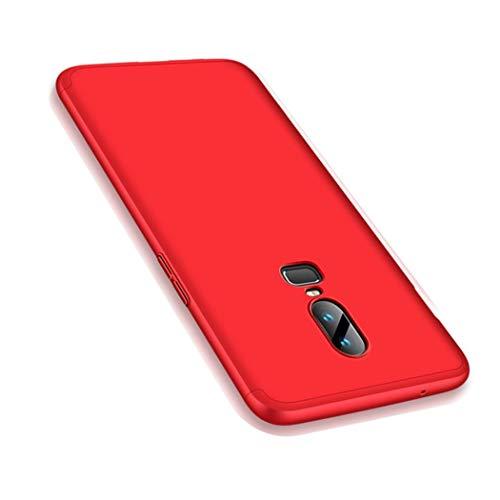OnePlus 6 Hülle, Ultra Dünn 3 in 1 Schutzhülle 360 Grad Komplettschutz Case, Anti-Slip, Kratzer Hart PC Skin Rückdeckel Schutzhülle für One Plus 6 (OnePlus 6, Rot)