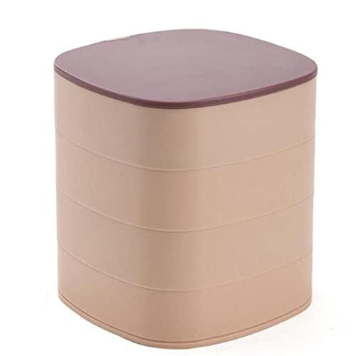 sevenjuly Organizador De La Joyería Caja De 4 Capas 360 ° del Caso del Almacenaje De La Joyería con El Espejo Giratorio Rosa Púrpura, Inicio Organizaer Almacenamiento