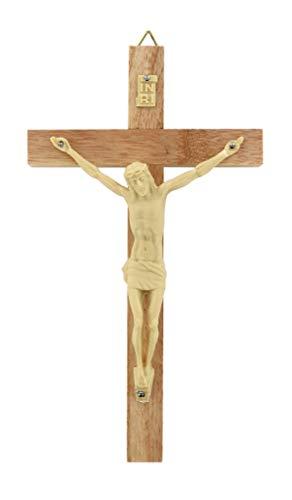 Crocifisso da parete in legno con Cristo in plastica - 13 cm