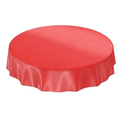Anro Nappe en toile cirée lavable, uni, brillant, Toile cirée, rouge, Schnittkante Rund 100cm