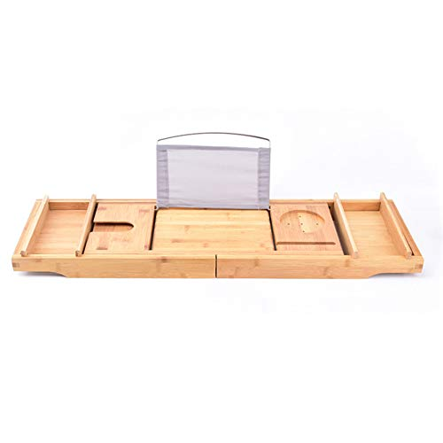 Weehey Badewanne Caddy Tablett Bamboo Spa Badewanne Caddy Organizer Serviertablett Buch Weinhalter rutschfeste Unterseite ausziehbare Seiten