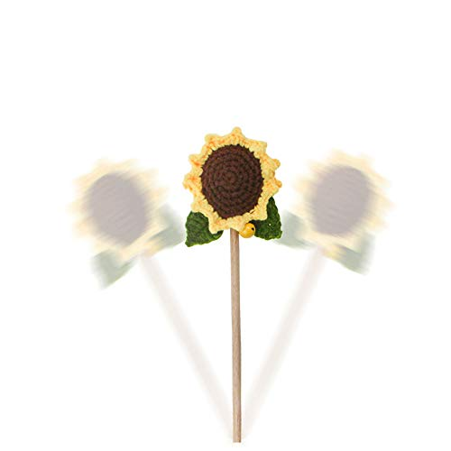 Sunflower Cat Funny Teaser,Flower Crochet Knitted Puppy Interactive Toy,Kitten Catcher Exerciser Chewing Stick Wooden Long Pole Pet Playing Supplies with Bell