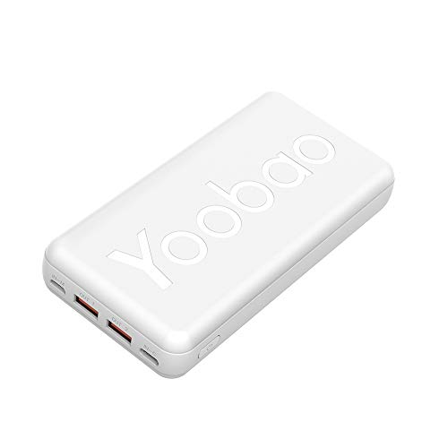 Portable Charger 20000mAh Yoobao Power Bank Compact Portable Phone Charger Micro & USB-C 2 Input External Battery Pack Compatible with iPhone 11 Pro/11/Xr/Xs/X, Samsung Galaxy S10/10+ and More-White