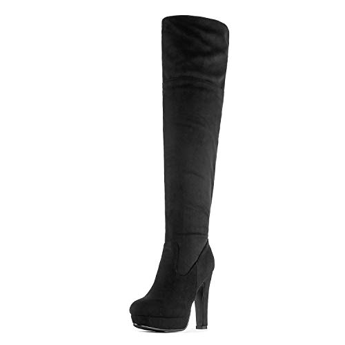 DREAM PAIRS Women's HIGHPLAT Black Chunky Thigh High Over The Knee High Heel Boots Size 7.5 B(M) US