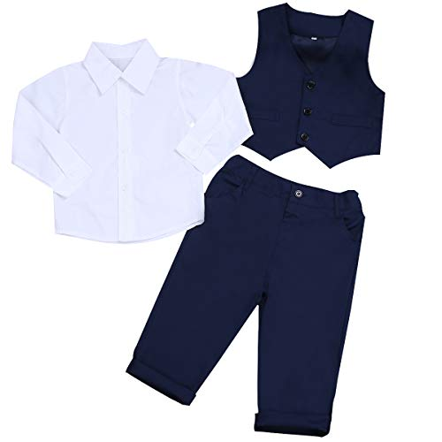 Abolai Baby Boys' 3 Piece Vest Set with Shirt,Vest and Pant (9-12 Months, Style5)
