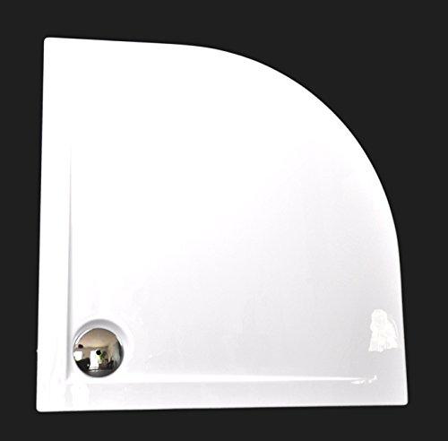 Art-of-Baan® - Superflache Duschwanne Duschtasse Viertelkreis 90x90 Komplettes Set reines Acryl Hochglanz kratzfest und rutschfest weiß; 90 x 90 Höhe 3,5 cm inkl. Ablaufgarnitur