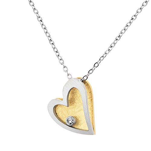 Ernstes Design Collar con colgante de corazón K816 con brillante de 0,02 quilates, acero inoxidable chapado en oro amarillo