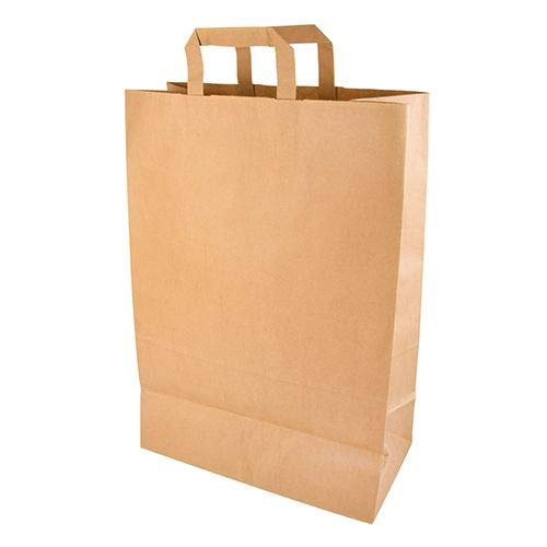 DeinPack Umweltschonende Papier Tragetaschen groß I Papiertüten Geschenktüten Papiertragetaschen biologisch abbaubar, kompostierbar I 50 x braune Papier Tüten 32 x 12 x 40 cm