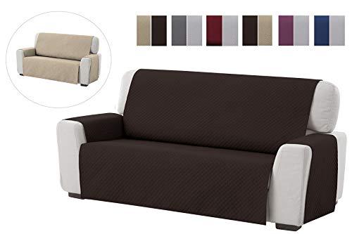Textilhome - Funda Cubre Sofá Adele, 3 Plazas, Protector para Sofás Acolchado Reversible. Color Marrón
