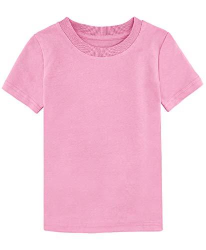 MOMBEBE COSLAND Camisetas Rosa Niñas Corta Algodón T-Shirt (Rosa, 8/10 Años)