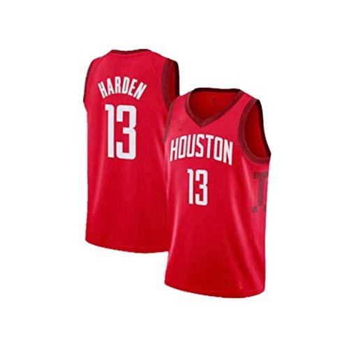 Herren-Basketball-Trikots James Harden 13 Houston Rockets New Stoff gestickter Unisex Ärmel T-Shirt Basketball-Trikot NBA Swingman Anzug (Color : Red, Size : XS)