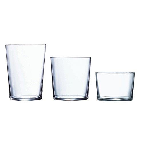 Luminarc Gorbea Set de 18 vasos de vidrio, (6 sidra, 6 pinta, 6 chiquito), Sodo, Transparente