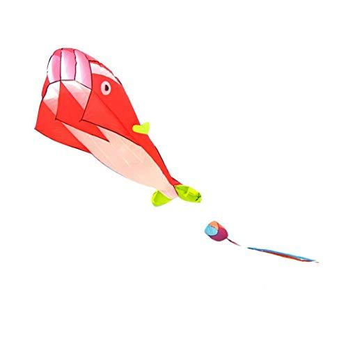 Dibujos Animados Ballena Cometa De Tela Sin Marco Cometas De La Cola Larga De Juegos Al Aire Libre del Vuelo De La Cometa Cometas Animal Reutilizable Niños Rojo Juguete
