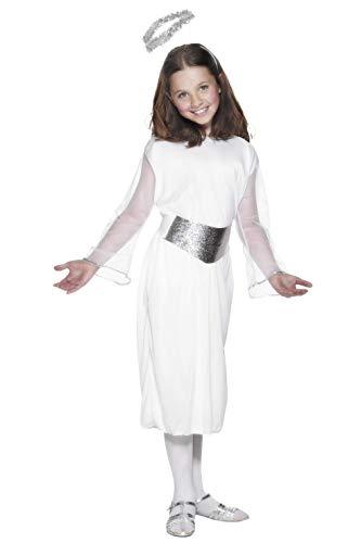 Smiffy's-99340L Disfraz de ángel, con Vestido, cinturón y halo, Color Blanco, L-Edad 10-12 años (99340L)