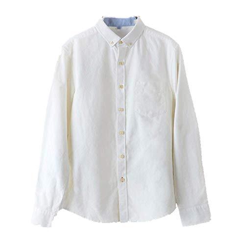 NOBRAND Camisa Oxford de algodón para hombre, estilo retro, para hombre