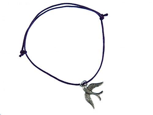 Miniblings Golondrina Colgante Brazalete Pulsera de la Suerte de Aves Ajustable púrpura Plata - Joyas de Moda Hechos a Mano - Senoras de la Pulsera Chica