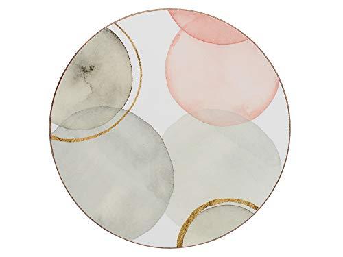Creative Tops - Set di 4 sottobicchieri con retro in sughero, motivo 'Sfere dorate', rotondi, bianco, 12 cm, colore: Bianco
