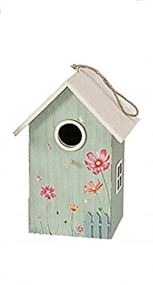 CasaJame Wooden Bird House Nesting Box Green with Flower Decoration 15 x 12 x 22 cm from unbekannt
