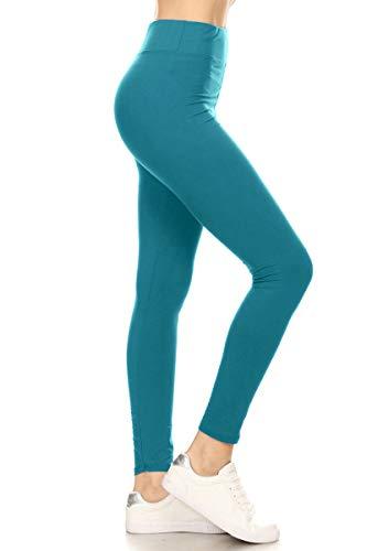 LYR128-TEAL Yoga Solid Leggings, One Size