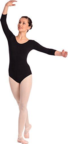 Arabesque 3/4 Kurzarm Damen Ballettanzug Klassischen Body, 2002 (S, Schwarz)