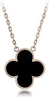أسود أربع أوراق البرسيم قلادة فضية ، مطلية بالذهب الوردي