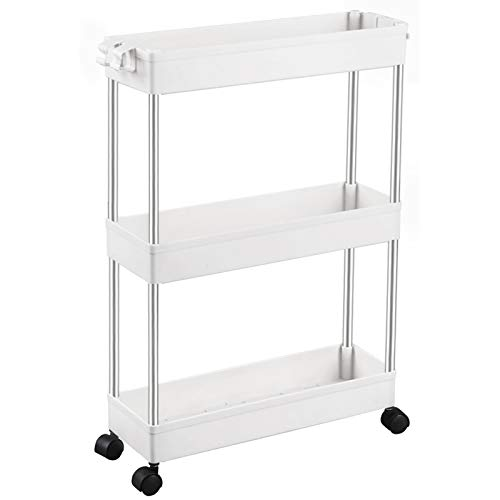 SPACEKEEPER Slim Storage Cart 3 Tier Mobile Shelving Unit Organizer Slide Out Storage Rolling Utility Cart Tower Rack for Kitchen Bathroom Laundry Narrow Places, Plastic & Stainless Steel