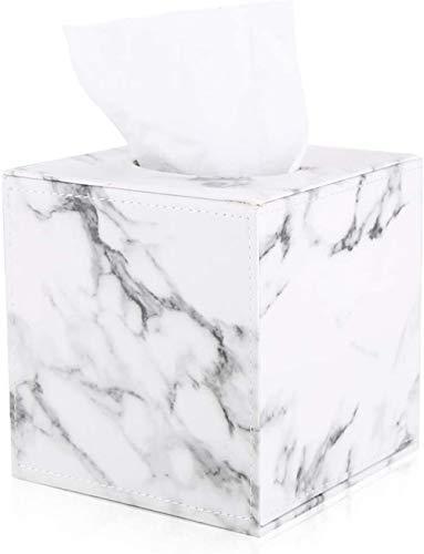 GORESE - Caja de pañuelos de piel sintética, cuadrada, para el hogar y la oficina, para dormitorio, escritorio, mesitas de noche, tocador de baño, decoración del coche