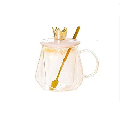 Dabeigouzbolb Glaser Klare Glasschale für Kaffee, Milch, Tee und Wasser, Wasserbecher mit Griff, wiederverwendbarer Glasschale-8 * 9 cm, 400ml