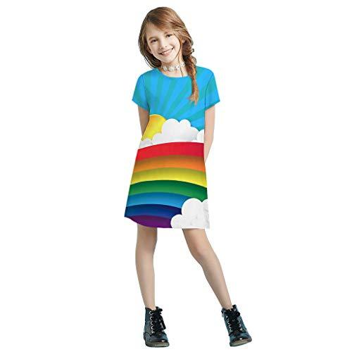 Cover 3D Druck Kleidung Mädchen Kleid Regenbogen/Schmetterling/Ananas/Katze Muster Kleider Kurzarmkleid Knielanges Sommerkleid